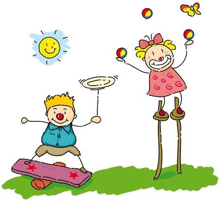 educacion fisica: dos niños pequeños que hacer juegos malabares