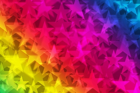 An abstract poster with stars on a rainbow bacground photo