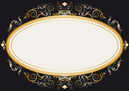 Oval gold retro frame Vector