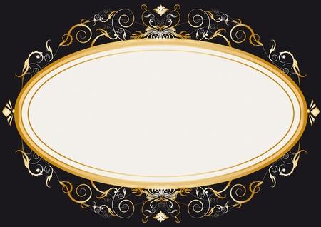 Oval gold retro frame Vector