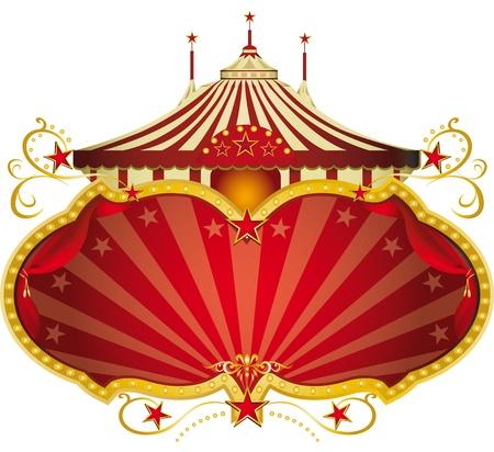 Een circus frame met een grote tent en een grote kopie ruimte voor uw bericht.