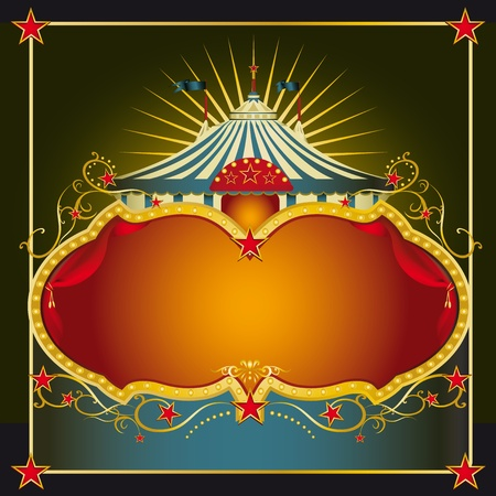 A greeting card on circus theme with a large copy space for your message Vector