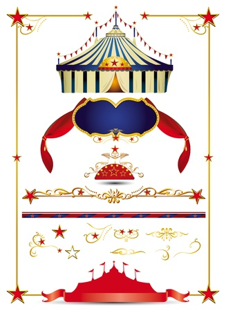A circus set with a big top, design elements, a ribbon.... create yourself a poster for your circus. Vector