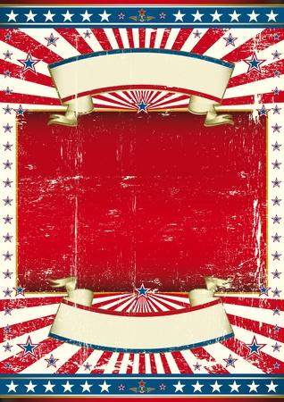american poster: Un cartel con un gran marco de color rojo para su mensaje.