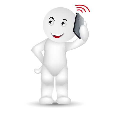 A man is calling with a mobile phone. Vector
