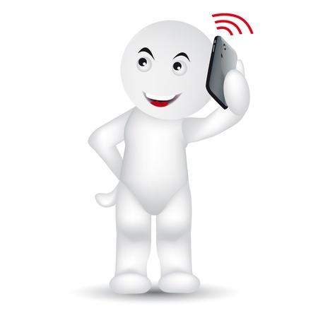 omini bianchi: Un uomo sta chiamando con un telefono cellulare.