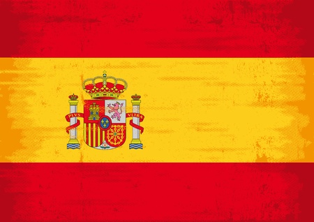 A flag of spain with a texture.  Vector