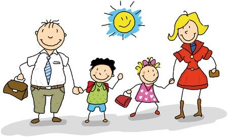dessin enfants: C'est le début de l'année scolaire, papa et maman emmènent leurs enfants à l'école