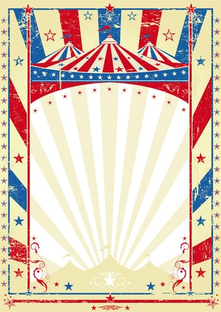 circus stage: old tricolor poster big top