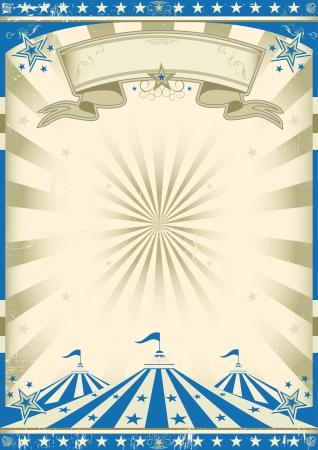 cirkusz: A cirkusz kék vintage plakát a show-