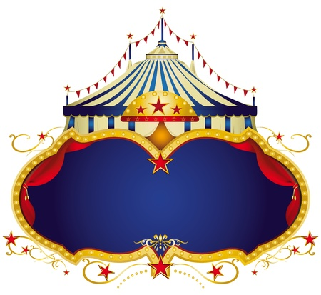A circus frame with a big top and a large blue copy space for your message  Vector