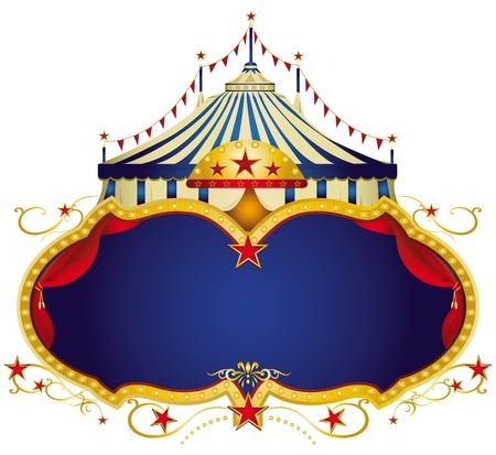 Een circus frame met een grote tent en een grote blauwe kopie ruimte voor uw bericht