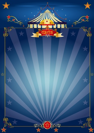 circus stage: A circus blue poster for your show