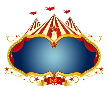 A circus frame with a big top and a large blue copy space for your message  Stock Vector - 12497418