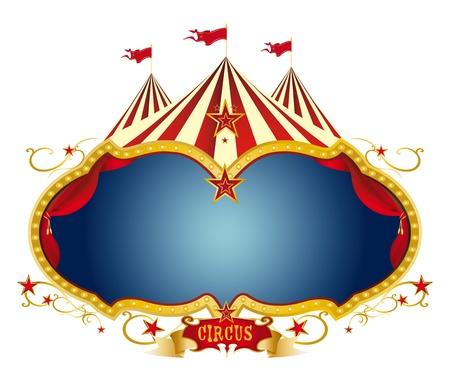 rideau sc�ne: Un cadre de cirque avec un chapiteau et un espace de copie grand bleu pour votre message Illustration
