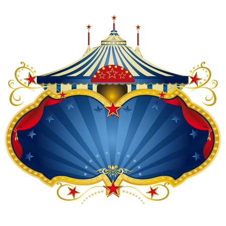 cabaret: Un cadre de cirque avec un chapiteau et un espace exemplaire en grand avec des rideaux pour votre message Illustration