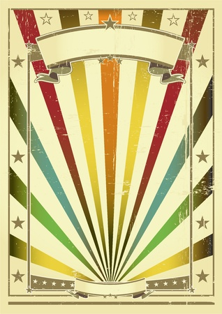 fete: A vintage poster with sunbeams for you Illustration