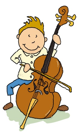 teenagers laughing: A young man play the cello. Illustration