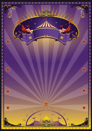 circus background: A purple and orange circus poster for your advertising Illustration