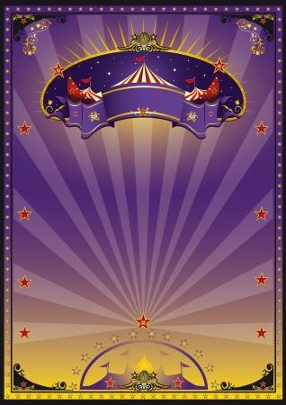 fondo de circo: Un morado y naranja de circo cartel para su publicidad