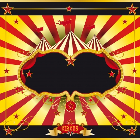blue curtain: A circus leaflet for the announcement of your show