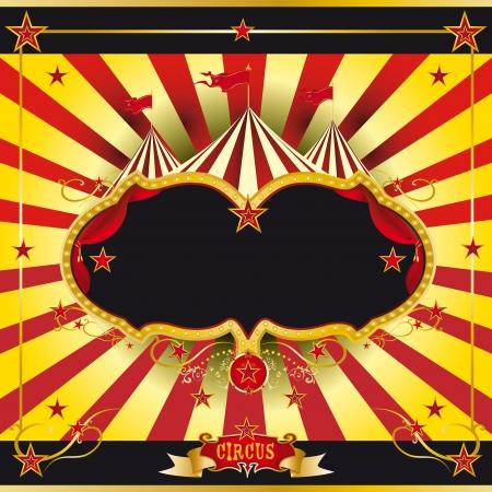 rideau sc�ne: Un d�pliant de cirque pour l'annonce de votre spectacle Illustration