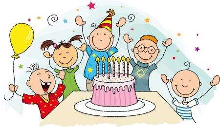 Alles Gute zum Geburtstag Gruppe junger Kind um einen Geburtstagskuchen