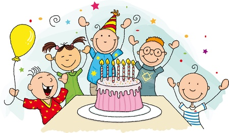 Happy birthday   Group of young child around a birthday cake  Vector