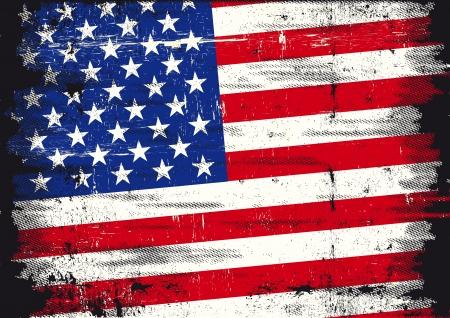 estados unidos bandera: Una Bandera usada patri�tica de EE.UU. con una textura Vectores