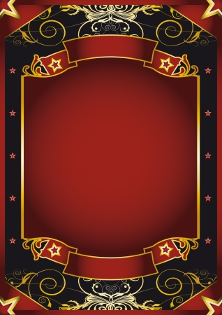 retro background: a poster with gold scroll shapes for your advertising