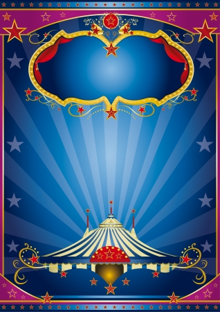 A circus vintage poster with a stage and sunbeams for your advertising   Illustration