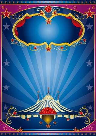 cabaret stage: Un cartel de circo de �poca con un escenario y los rayos de sol para su publicidad Vectores