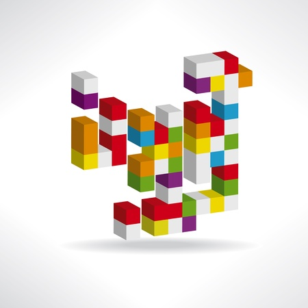 box construction: Multicolored cubes for a logo Illustration