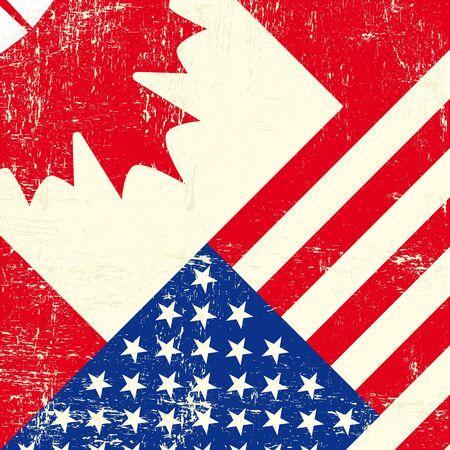 Un drapeau grunge canadien et américain