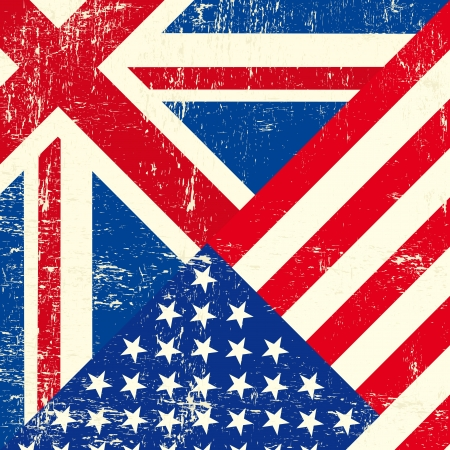 An UK and american grunge flag Vector