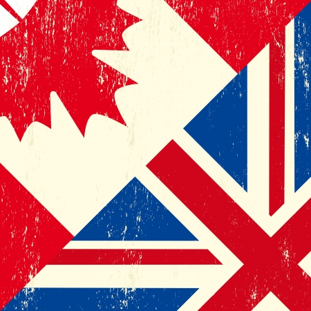 A canadian and UK grunge flag Vector