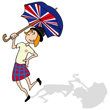 english girl: English girl is dancing with a british umbrella Illustration