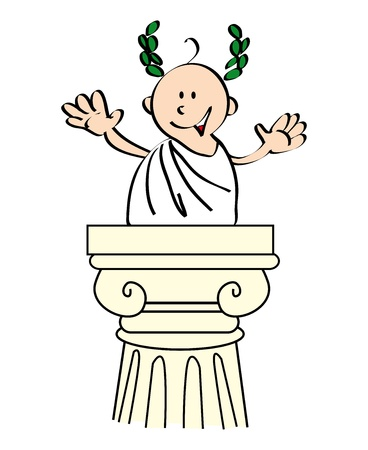 election debate: You recognize me  i m Julius Caesar, the perfect speaker  Illustration