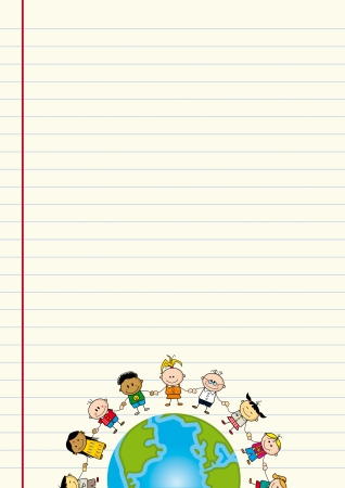 hands holding earth: A sheet of paper with an illustration of children around the world