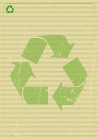 papel reciclado: Un logo de reciclaje en un cartel Vectores