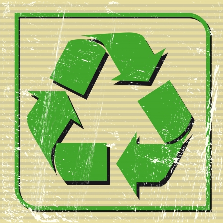 A recycling logo on a sticker Vector