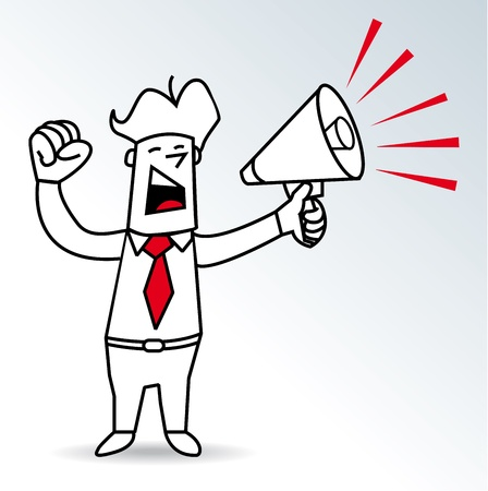 a businessman shouting in a megaphone Vector