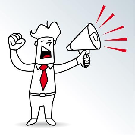decibel: a businessman shouting in a megaphone Illustration