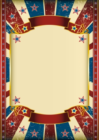 circus poster: Dirty american background with a large frame