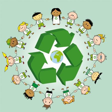 I bambini si tengono per mano attorno a un simbolo di riciclaggio e la terra