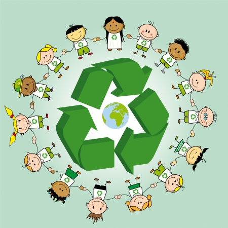 Kids holding hands around a recycle symbol and the earth