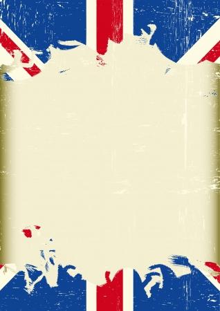 drapeau anglais: Un drapeau britannique sale avec un grand cadre de votre message