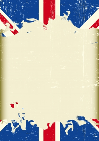 bandiera inglese: Una bandiera sporca britannico con una grande cornice per il vostro messaggio