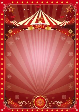 circense: Un cartel de circo en el tema de la Navidad Disfrute