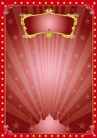 kerst markt: Een circus rode vintage poster met zonnestralen voor uw reclame